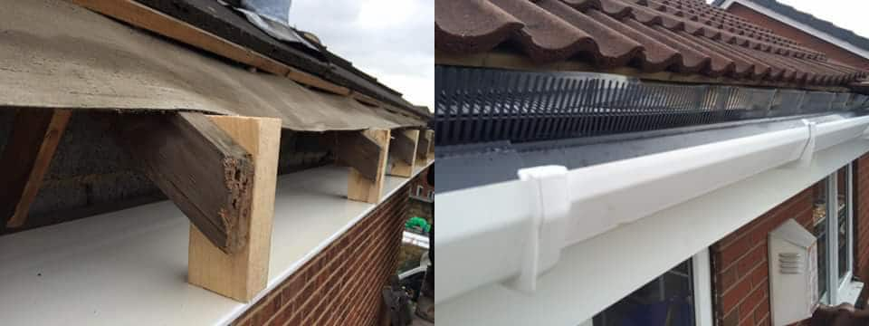 before and after replacing fascias soffits and gutters normanton